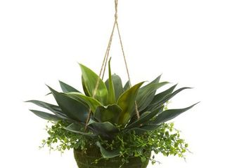 Nearly Natural Artificial Agave and Maiden Hair Indoor Outdoor Plant in Hanging Basket