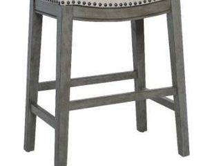 The Gray Barn Arbakka Grey 24 inch Saddle Bar Stools  Set of 2  Retail 145 49