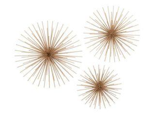 3 Piece Gold Finish Metal Sea Urchin Wall Sculpture Set