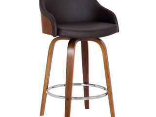 Alec ContemporaryaSwivel Barstool in a Wood Finish and Faux leather Retail 218 49