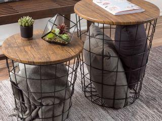 lavish Home 80 endtbl 2 Set Of 2 Nesting End Storage Convertible Round Metal Top