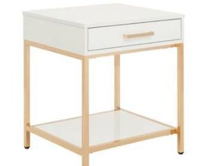 Silver Orchid Evans Glossy White End Table Retail 181 49