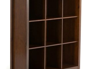 Simpli Home Artisan Contemporary Solid Wood 9 Cube Bookcase in Russet Brown