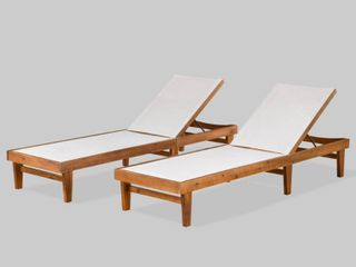 Summerland Outdoor Mesh and Wood Chaise lounge  Set of 2  Christopher Knight Home Retail 461 99