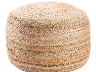 The Curated Nomad Camarillo Modern Tan Cylindrical Shape Jute Pouf Retail 78 98