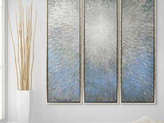 Silver Ice Textured Metallic Hand Painted Wall Art Retail 329 99
