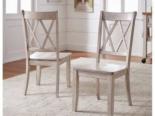 Weston Home Farmhouse Dining Chair with Cross Back  Set of 2