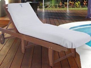Superior 100  Cotton Monogrammed Super Absorbent Chaise lounge Chair Cover   32 x 102