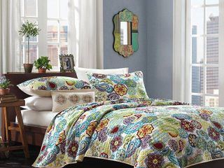 White Blue Green Tula Quilted Coverlet Set King 4pc