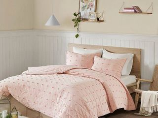 3pc Full Queen Kay Cotton Jacquard Coverlet Set Pink