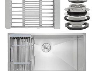 AKDY KS0118 30  x 20  x 9  Apron Farmhouse Handmade Stainless Steel Single Bowl Kitchen Sink w  Drain Strainer Kit Adjustable Tray
