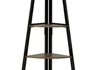 Homfa Industrial Corner ladder Shelf  5 Tier Bookcase A Shaped Utility Display Organizer Plant Flower Stand Storage Rack  Wood look Accent Metal Frame Furniture Home Office