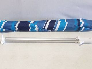 7ft Blue Striped Umbrella With Dirt Drill Attached To Pole