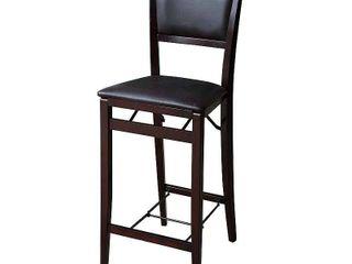 linon Keira Folding Bar Stool  Espresso  30 inch Seat Height  Assembled