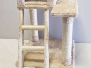 Cat Tower With Fuzzy Floors And Scratch Posts And ladder Steps 29in X 19in X 19in