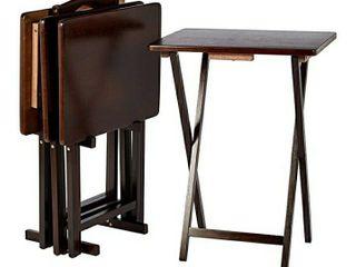 AmazonBasics Classic TV Dinner Folding Trays with Storage Rack  Espresso   Set of 4