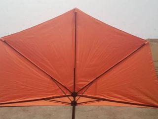 ABCCANOPY 11FT Patio Umbrella Half Round Outdoor Umbrella with Crank for Wall Balcony Door Window Sun Shade  Orange