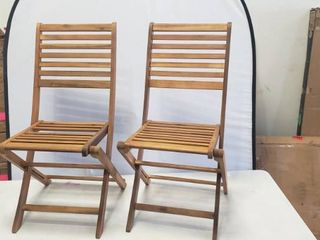 Pair Of Foldable Wooden Chairs