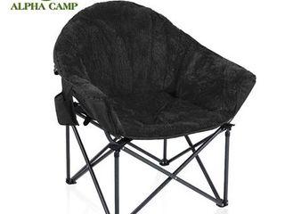 AlPHA CAMP Oversized Padded Plush Moon Chair   Black