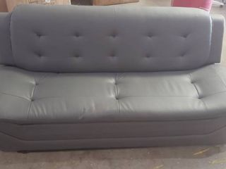 Grey Faux leather Modern Couch Missing Appears To Be Missing Two legs 82in X 30in X 34in