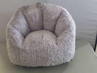 Small Grey Fuzzy Bean Bag Chair