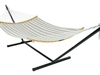 Patio Watcher 12 Feet Steel Stand with Quick Dry Hammock Curved Bamboo Spreader Bar Hammock for Outdoor Patio Yard 2 Storage Bags Included