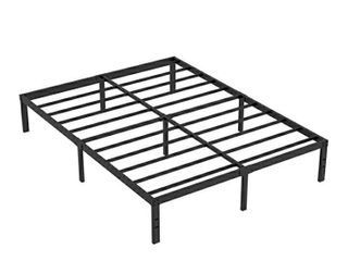 AROMUSTIME 16 Inch Metal Platform Bed Frame Easy Assembly Mattress Foundation Heavy Duty Steel Slat Noise Free Box Spring Replacement  Cal King