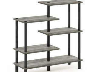 Furinno Turn N Tube 5 Tier Accent Display Rack  French Oak Grey Black 31 50 W x32 48 H x11 61 D  inches