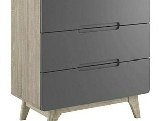 Modway Origin Contemporary Mid Century Modern 3 Drawer Bedroom Chest in Natural Gray  15in X 31in X 33in