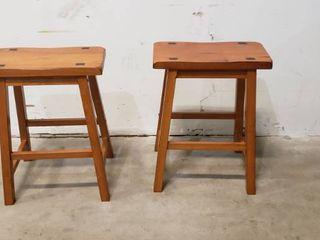 23  X 17 5  X 9  Wood Bar Stools Set Of Two  Saddle Style