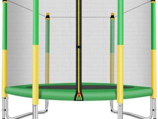 Fashionsport Outfitters Kids Trampoline with Safety Enclosure   Indoor Outdoor  Missing Springs