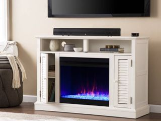 ASSEMBlED  Southern Enterprises Fireplace Console TV Stand  Fireplace Insert Not Included  47 5  x 15  x 32