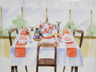 Oliver Gal Food and Cuisine Wall Art Canvas Prints  At the table  Meals   Red  White  Retail 99 99