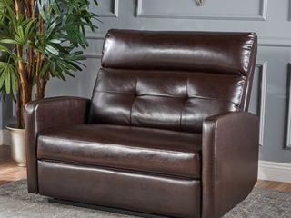 Halima Faux leather 2 Seater Recliner Club Chair by Christopher Knight Home  Retail 448 87