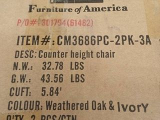Carbon loft Gascon Weathered Oak Counter Height Chairs  Set of 2  Retail 269 99