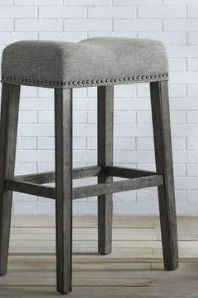 The Gray Barn Overlook Upholstered Backless Saddle Seat Bar Stool   Retail 119 49