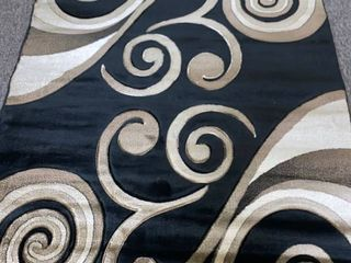 Glamour Red Black Polypropylene Area Rug 160cm x 230cm Retail 127 49
