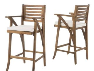 Hermosa Outdoor Acacia Wood Barstool with Cushion  Set of 2  by Christopher Knight Home Retail 281 49