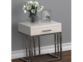 Drawer Rectangular End Table Glossy White And Chrome