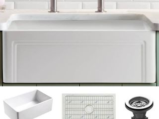 Olde london Fireclay 27  l x 18  W Reversible Farmhouse Kitchen Sink with Grid   Strainer in White  Retail 542 49