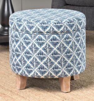 Carson Carrington Hnifsdalur Round Storage Ottoman Flared Wood leg in Modern Navy and White Geometric Retail 89 49