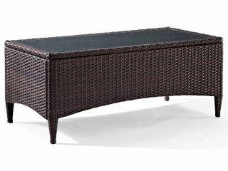 Kiawah Outdoor Wicker Glass Top Table   Retail 159 49