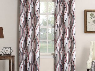 Set of 2 No  918 Intersect Grommet Woven Print Window Curtain Panel
