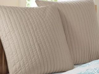 Set of 2 Carbon loft Dickson Taupe Quilted and Embroidered Cotton Euro Sham with Hidden Zipper Closure