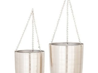 Set of 2 Modern 9 and 11 Inch Silver Hanging Planters by Studio 350
