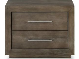 Carbon loft Carnegie Two drawer Nightstand with USB in Dark Pine Damage on Corner and Top