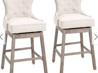 HOMCOM Vintage Pub Bar Stool 2PCs Set 180 Swivel Chair With Footrest Rubber Wood linen