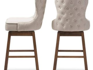 Baxton Studio Gradisca Modern and Contemporary Brown Wood Finishing and light Beige Fabric Button Tufted Upholstered Swivel Barstools  Set of 2