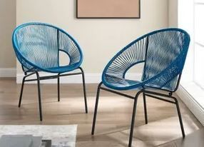 Set of 2 Corvus Sarcelles Modern Blue Wicker Patio Chairs