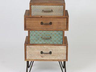 Brown Metal Wood 4 drawer Cabinet End Table  Retail 202 49